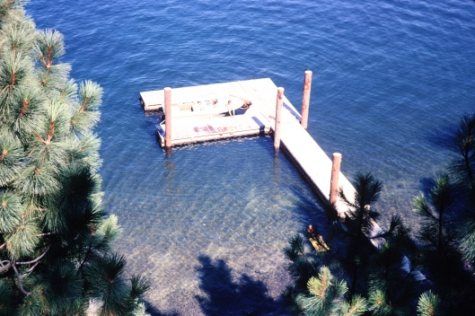 View of dock from cabin deck, Coeur d'Alene Lake, circa 1972