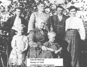 Keturah Belknap at age 90, and her family, from Oregon Pioneer Photo Gallery