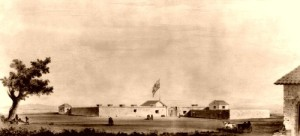 Sutters Fort in 1847, courtesy of the Library of Congress