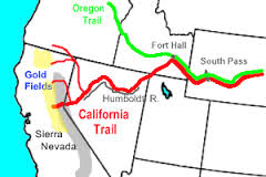 Applegate Trail, the northern-most red line