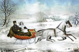 Currier & Ives print -- I had a needlework kit of this piece when I was younger; I wonder what happened to it