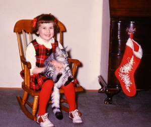 Posed with my cat in my rocking chair