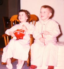 Posed with my brother in my rocking chair