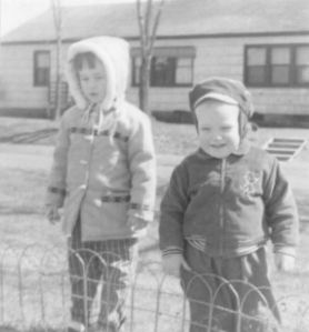 My brother and me outside one of Pehrson's houses (April 1959)