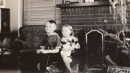 My mother and her brother, Christmas 1937