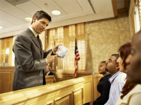 A lawyer telling his client's story to the jury