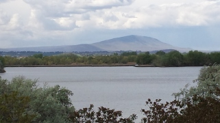 View of Columbia River toward Rattlesnake Mountain near Hanford Reach Museum