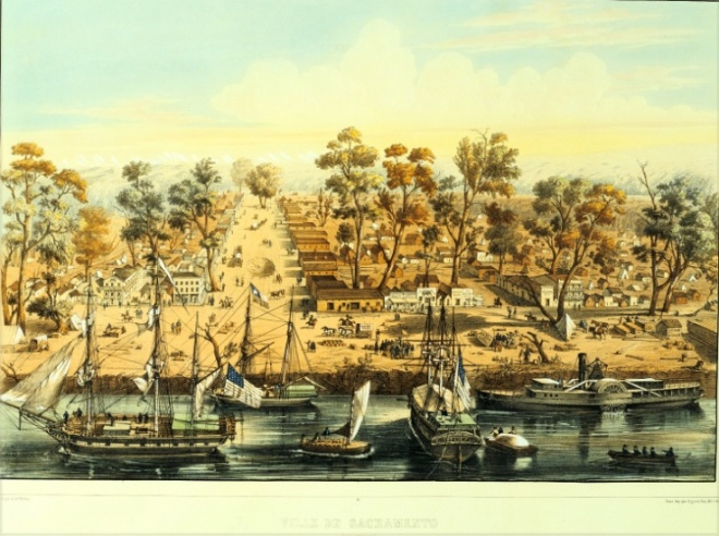 Sacramento waterfront, circa 1849