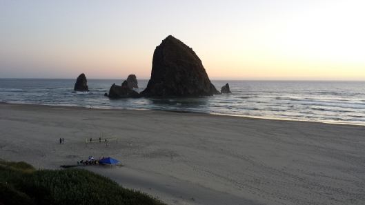 Haystack Rock, Cannon Beach, OR, from our hotel room in the evening