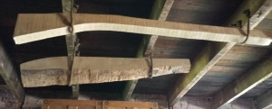 Gun stock stored in rafters