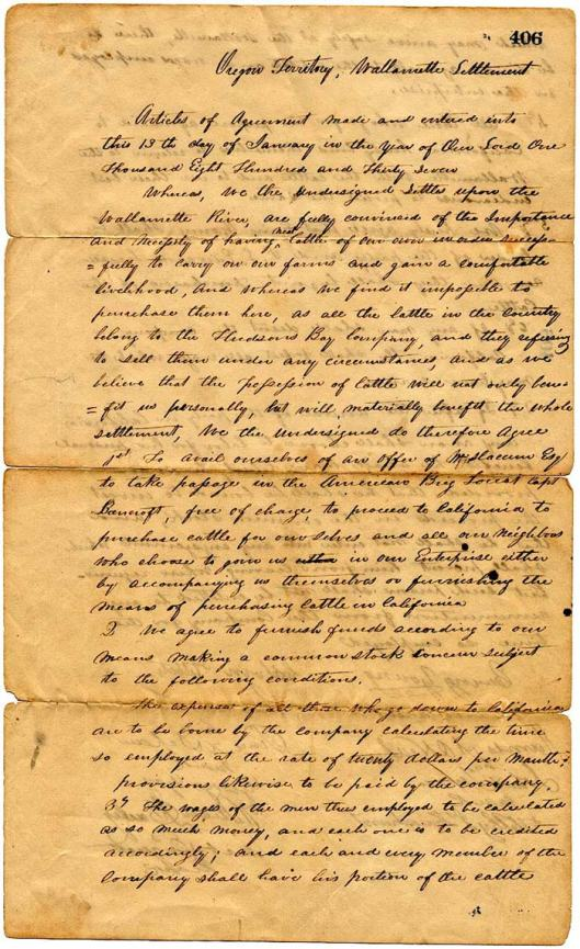 Oldest legal document in Oregon -- for the purchase of cattle in 1837. The purchaser later died, but there were no laws to determine who got his property.