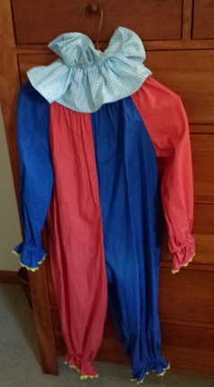 The clown costume my daughter wore. There might be a picture of her in it somewhere. I hope there isn't a picture of me in my clown costume.