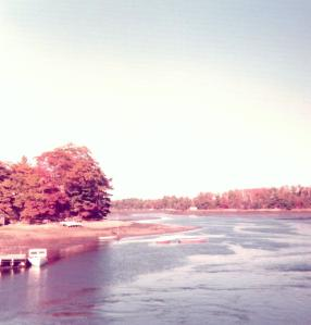 Maine tidal flats, October 1974. Unfortunately, the picture doesn't do the colors justice.