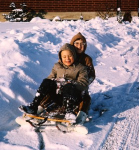My brother and me in Richland, when it would have been nice to have a snow day